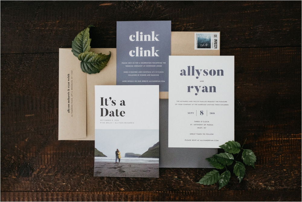 Invitation Suite for Adirondack Wedding The Covewood Lodge Eagle Bay Invites for ADK Wedding | Shaw Photo Co.