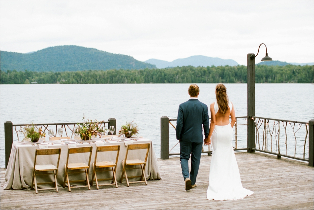 Elopement at the Lake Placid Lodge overlooking lake Lake Adirondack Wedding Photographers - Shaw Photo Co.